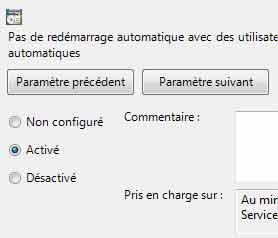 Windows reboot automatique solution étape 4 activer