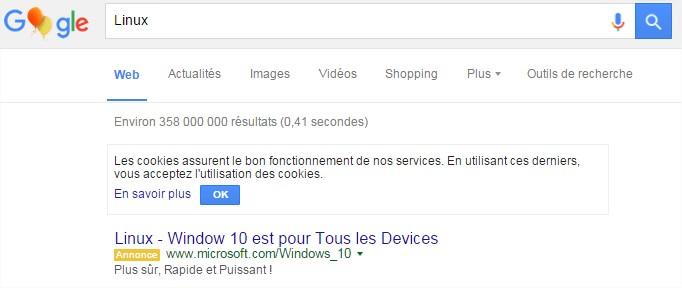 Résultats de recherche Linux sur google