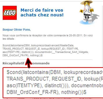 Image de mail de retour de ma commande Lego