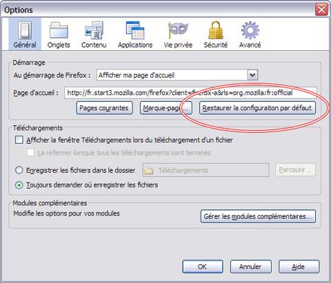 Firefox Bouton Restaurer la configuration par défaut