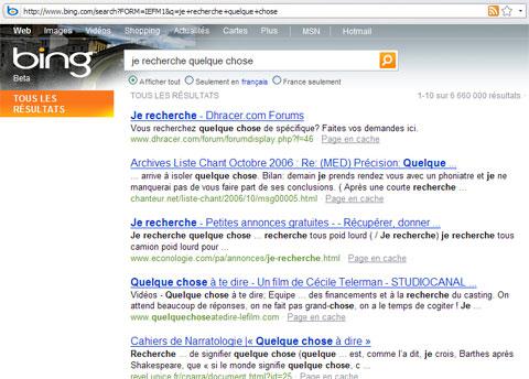 Firefox Résultat de je recherche quelque chose