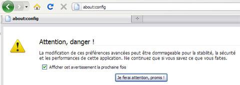 Firefox about config message avertissement