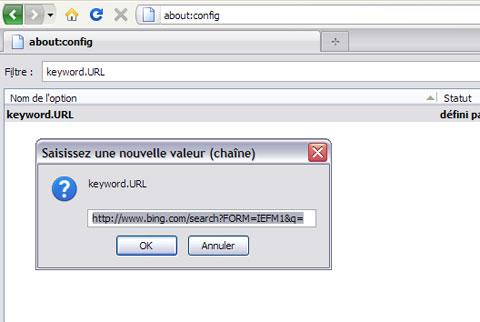 Firefox Résultat double clic keyword URL
