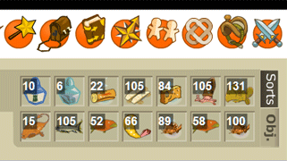 Inventaire de mon sacrieur level 50