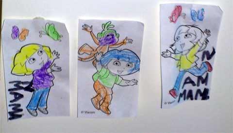 Images de Dora désignant la maman