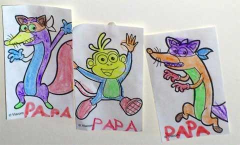 Images de Dora désignant le papa