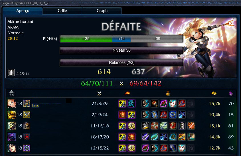 League Of Legends Lux score 21 kills 2 deaths 29 assists