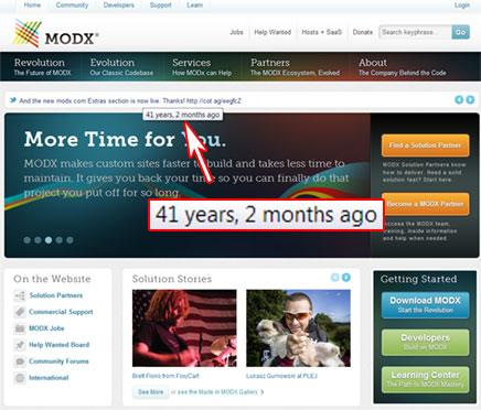 MODx qui affiche un label : 41 years, 2 months ago