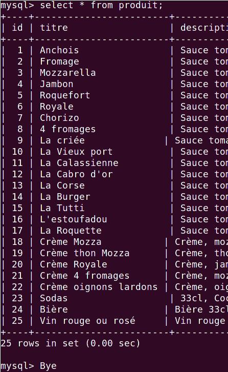 Image qui montre un décalage de résultat d'une requête mysql en ligne de commande