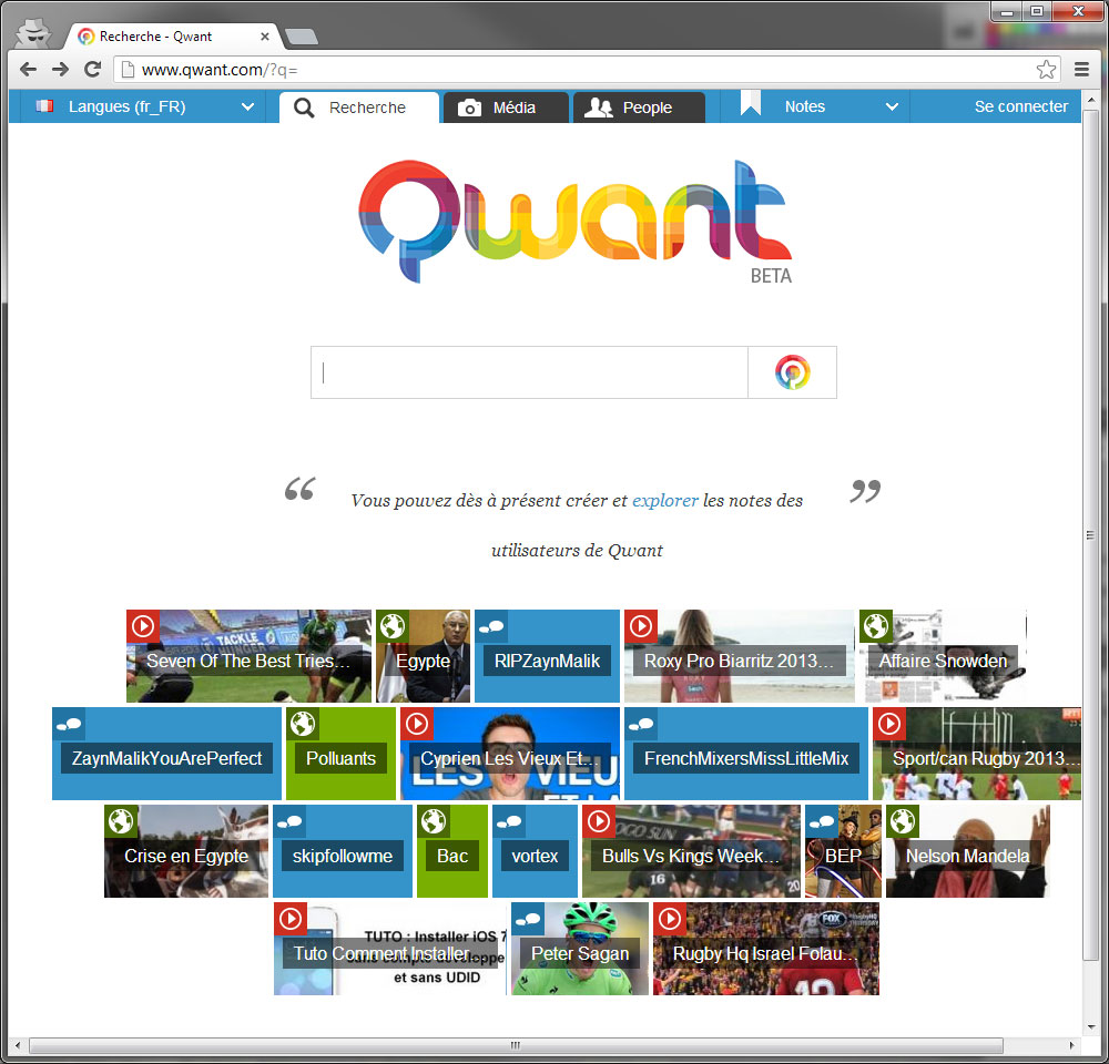 Qwant main page