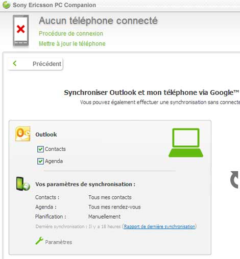 Sony Ericsson Xperia Arc : l'importation des contacts obligatoire par Outlook