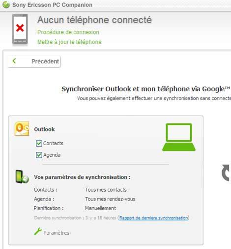 Sony Ericsson Xperia Arc : l'importation des contacts obligatoire par Outlook
