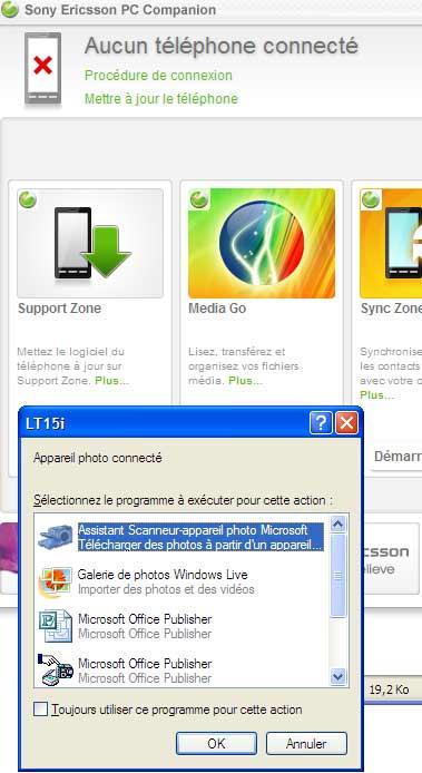 Détection qui ne fonctionne pas du Sony Ericsson Xperia Arc
