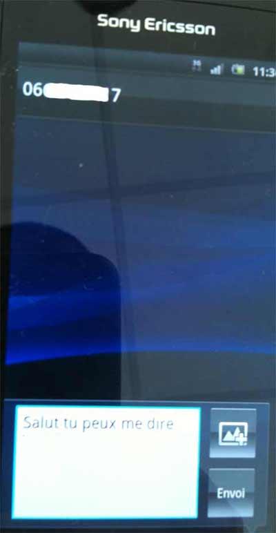 Sony Ericsson Xperia Arc : écriture de SMS étape qui fonctionne