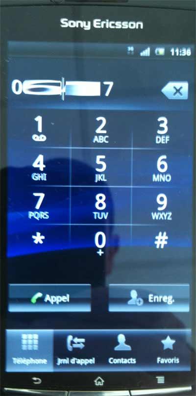 Sony Ericsson Xperia Arc : écriture de SMS étape de modification du numéro de téléphone