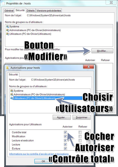 Windows comment modifier les autorisations du fichier hosts